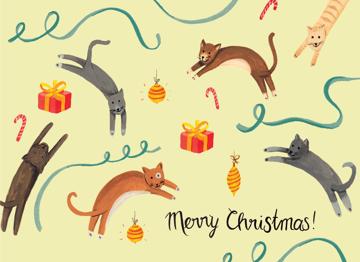 Merry Christmas cat card