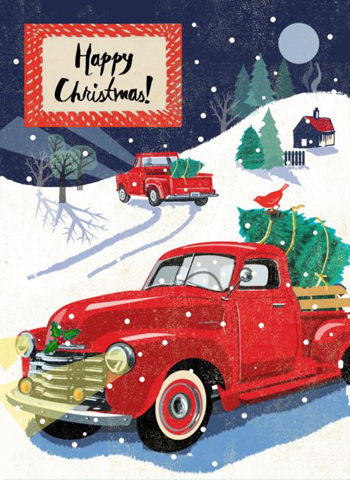 Christmas Tree Truck Card
