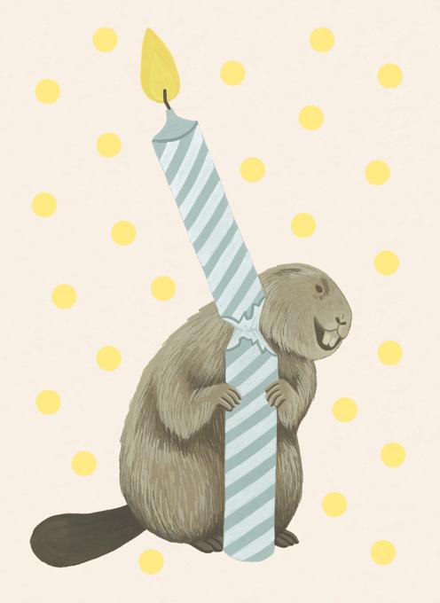 Beaver Candle Birthday