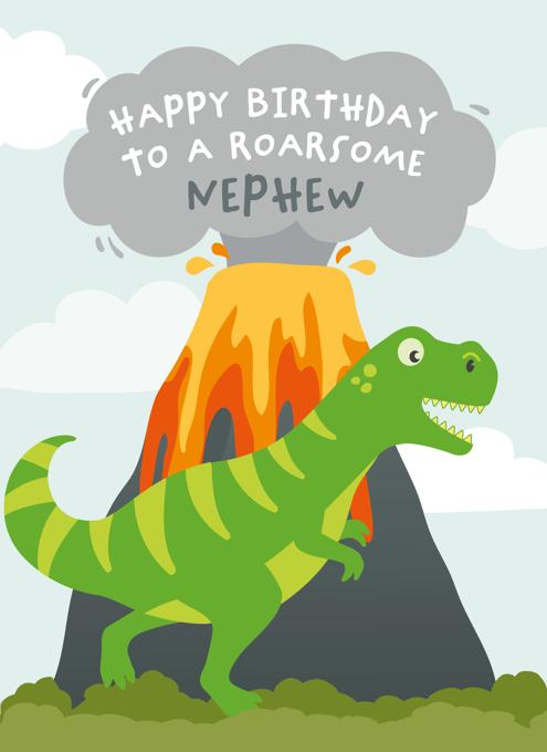 Dinosaur Birthday Card Nephew