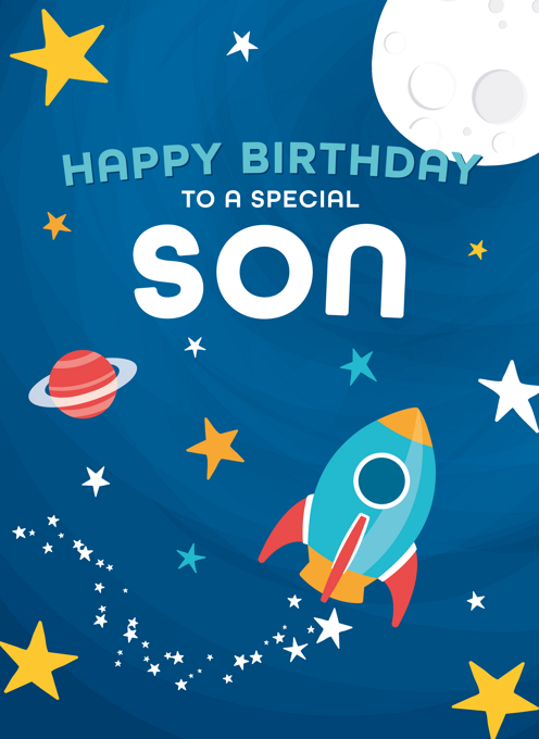 Space Birthday Card Son