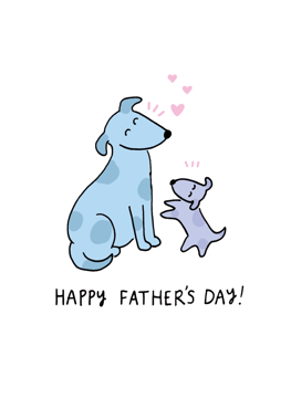 Happy Father's Day Dog and Puppy Card