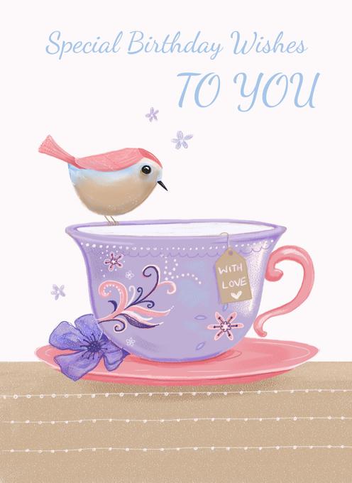 Birthday Bird On Teacup