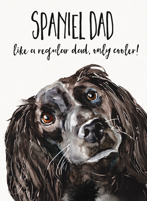 Black Spaniel Greeting Card For Dads