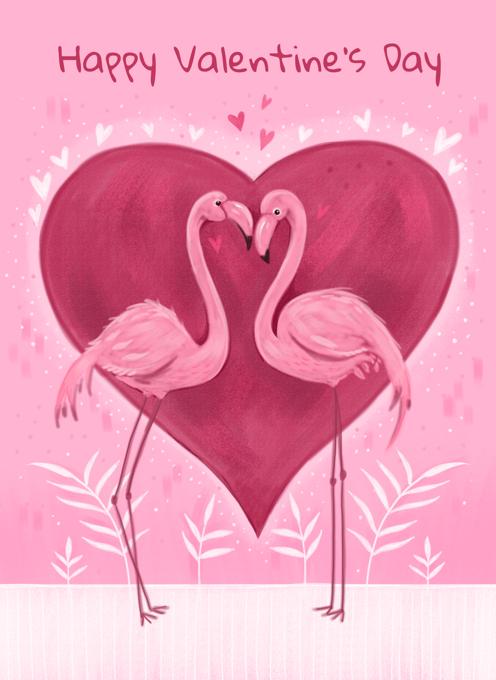 Valentine's Pink Flamingos Love Heart