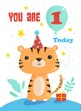 Age 1 Birthday Cute Tiger Cat Character