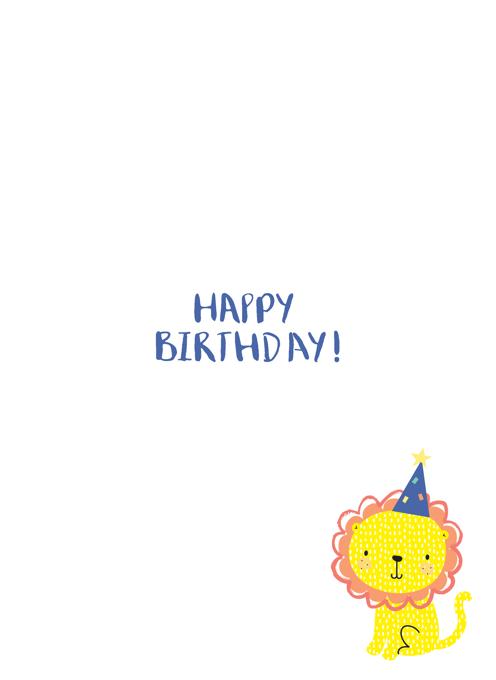 Nephew Happy First Birthday Lion Card
