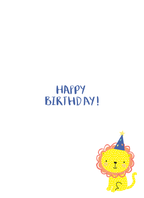 Son Happy First Birthday Lion Card